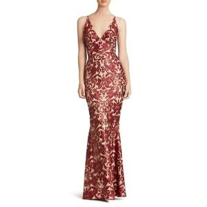 Dress the Population red sequin formal maxi dress